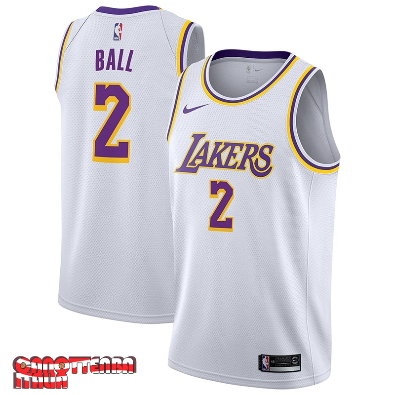 Maglia NBA Nike Los Angeles Lakers NO.2 Lonzo Ball Biancoo Association 2018-19 Economico