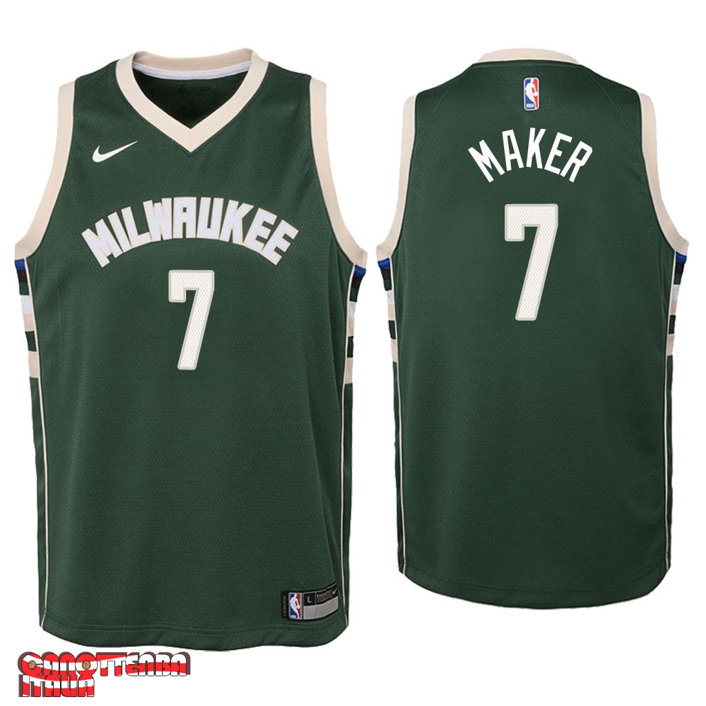 Maglia NBA Bambino Milwaukee Bucks NO.7 Thon Maker Verde Icon 2018 Economico