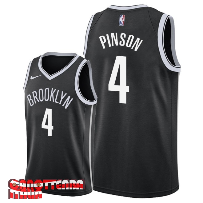 Maglia NBA Nike Brooklyn Nets NO.4 Theo Pinson Nero Icon 2018 Economico