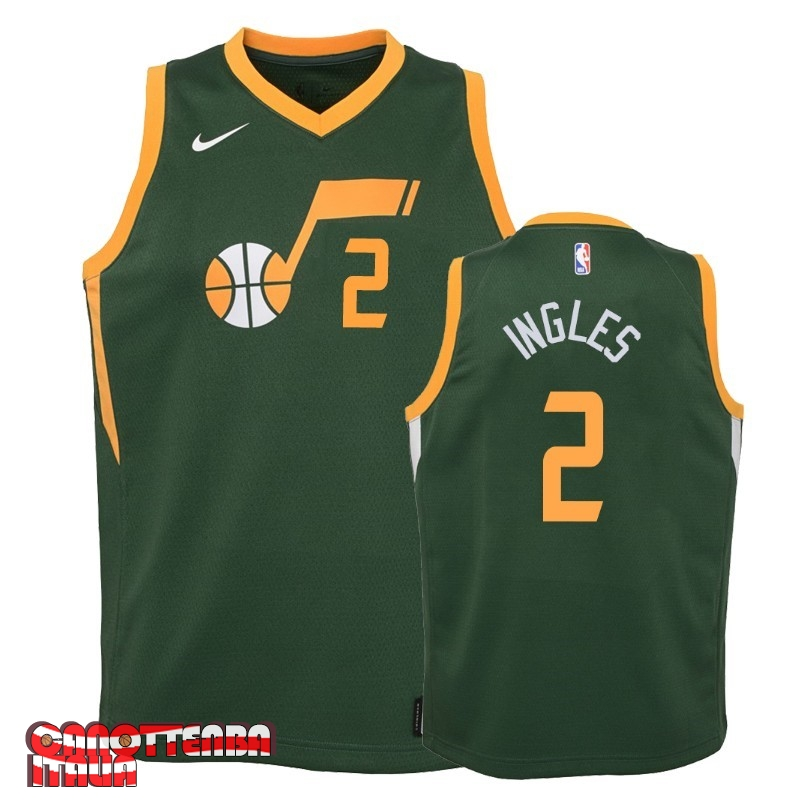 Maglia NBA Bambino Earned Edition Utah Jazz NO.2 Joe Ingles Verde 2018-19 Economico