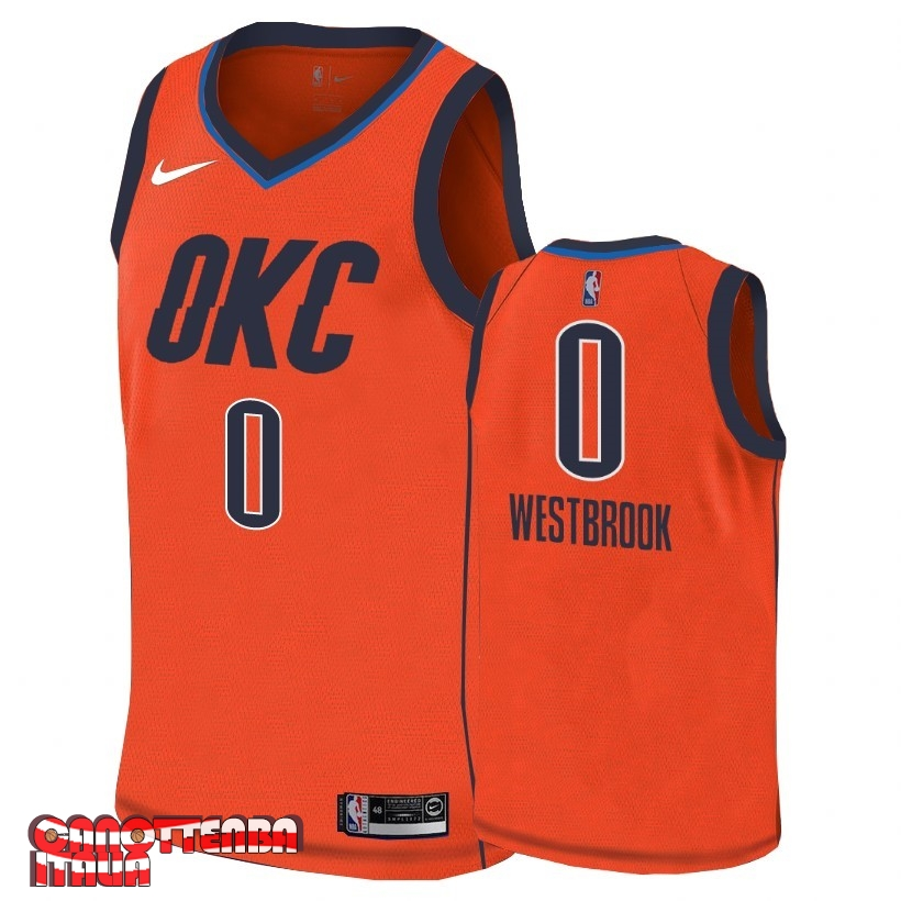 Maglia NBA Earned Edition Oklahoma City Thunder NO.0 Russell Westbrook Arancia 2018-19 Economico