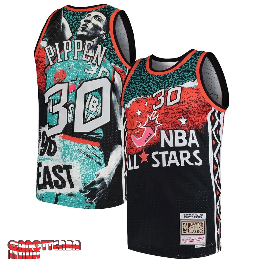 Maglia NBA All Star 1996 NO.30 Scottie Pippen Nero Economico