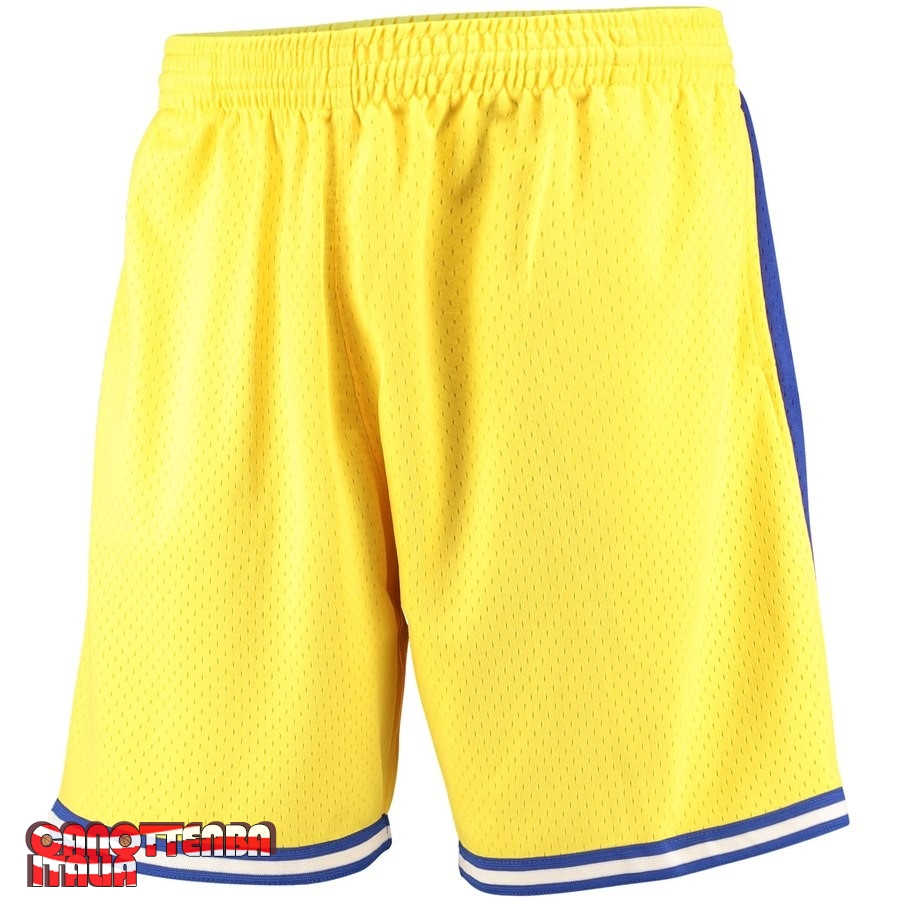 Pantaloni Basket Golden State Warriors Giallo Hardwood Classics Economico
