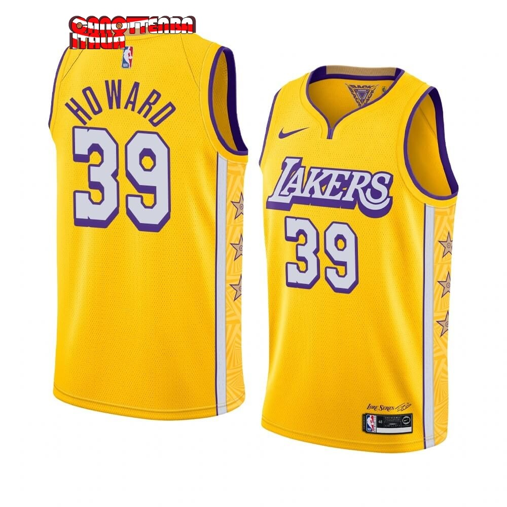 Maglia NBA Nike Los Angeles Lakers NO.39 Dwight Howard Nike Giallo Città 2019-20 Economico