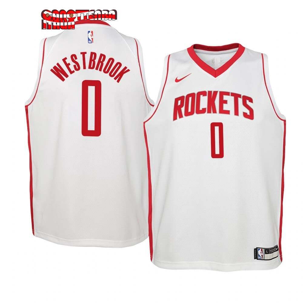 Maglia NBA Bambino Houston Rockets NO.0 Russell Westbrook Bianco Association 2019-20 Economico