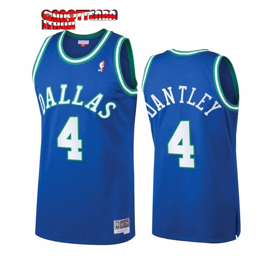 Maglia NBA Dallas Mavericks Heritage NO.4 Adrian Dantley Blu Hardwood Classics Economico