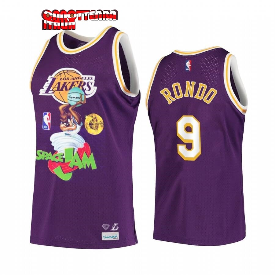 Maglia NBA Los Angeles Lakers NO.9 Rajon Rondo Porpora Hardwood Classics Economico