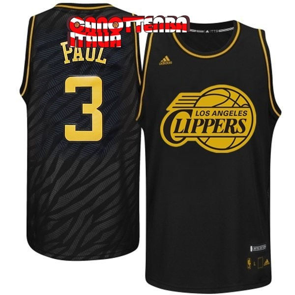 Maglia NBA Los Angeles Clippers Moda Metalli Preziosi NO.3 Paul Nero Economico